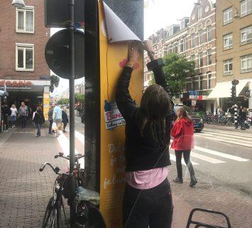 Gemeente Amsterdam banier montage burendag